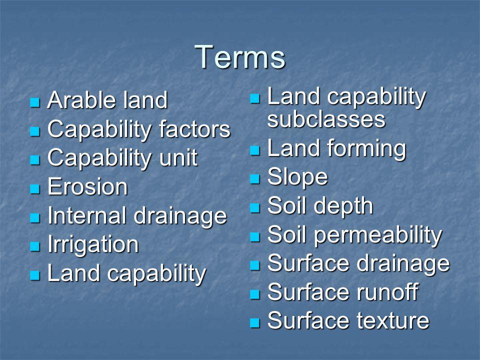 Terms Arable land Arable land Capability factors Capability factors Capability unit Capability unit Erosion Erosion Internal drainage Internal drainag