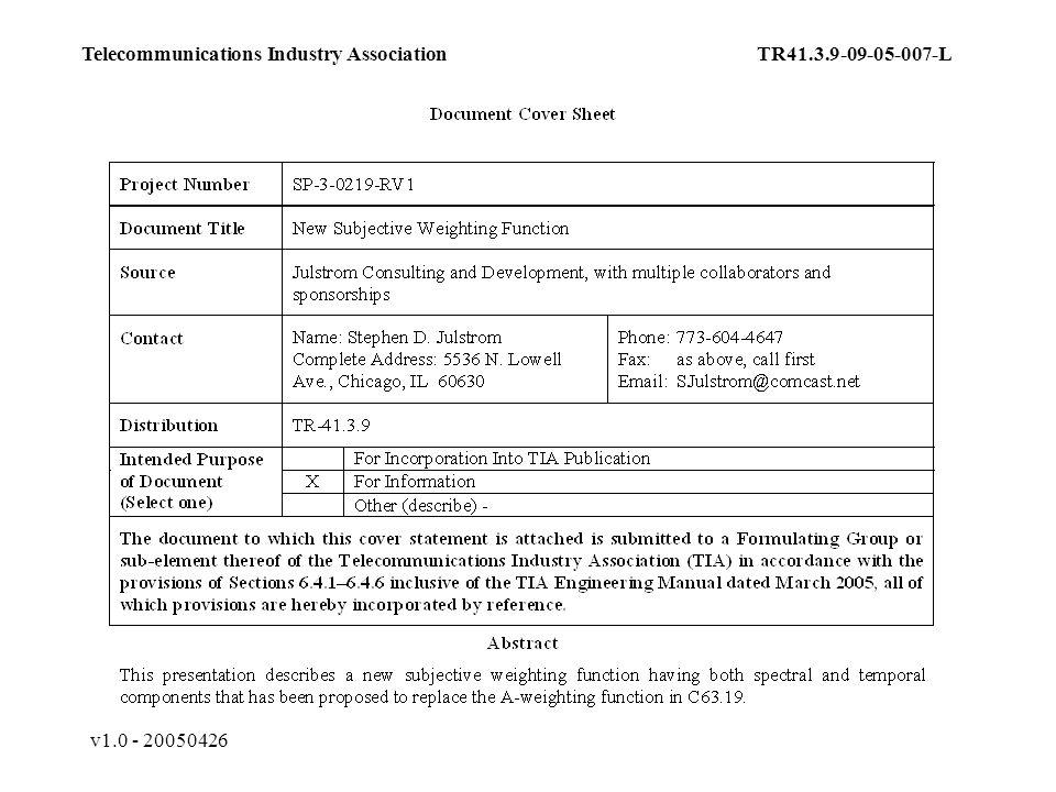 v1.0 - 20050426 Telecommunications Industry AssociationTR41.3.9-09-05-007-L