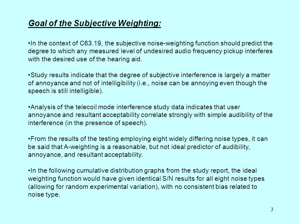 3 In the context of C63.19, the subjective noise-weighting function should predict the degree to which any measured level of undesired audio frequency