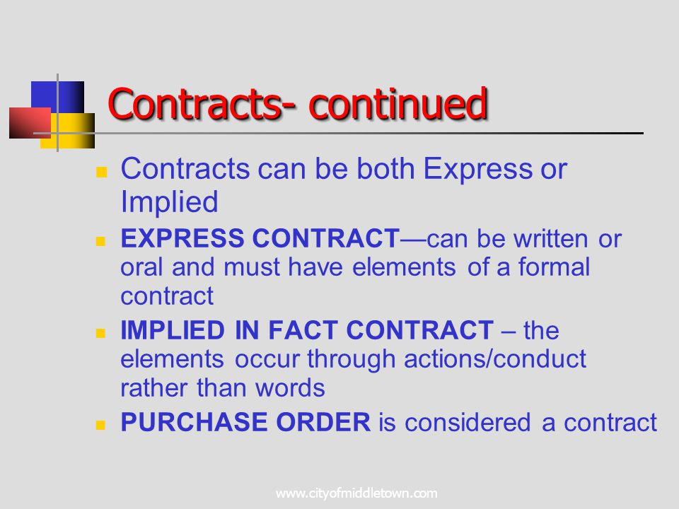 www.cityofmiddletown.com Contracts- continued Contracts can be both Express or Implied EXPRESS CONTRACT—can be written or oral and must have elements