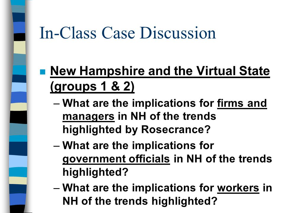In-Class Case Discussion n New Hampshire and the Virtual State (groups 1 & 2) –What are the implications for firms and managers in NH of the trends highlighted by Rosecrance.
