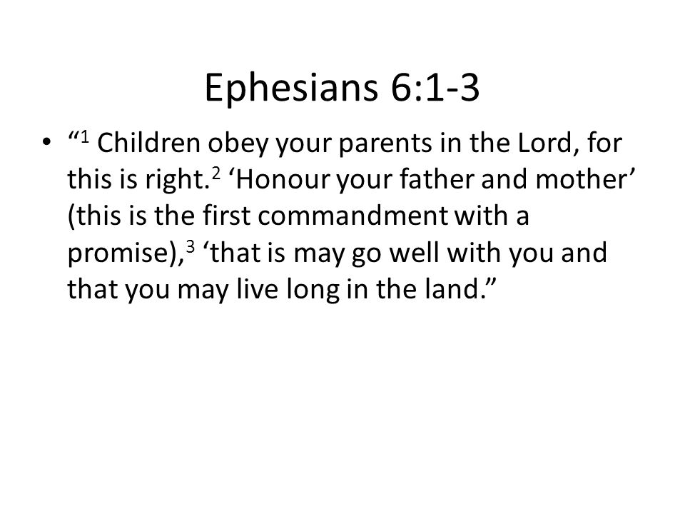 Ephesians 6:1-3 1 Children obey your parents in the Lord, for this is right.