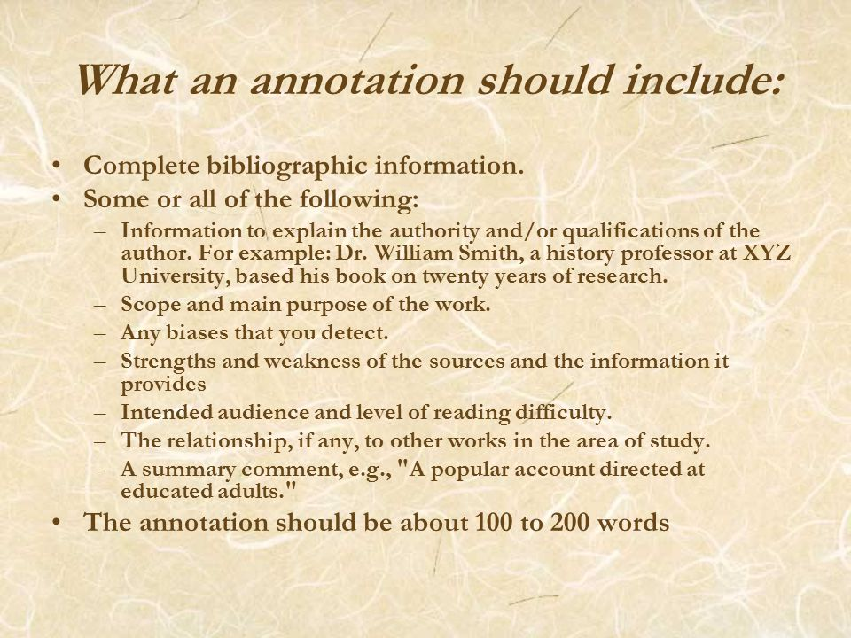 Descriptive Annotation: A descriptive annotation describes the content of the work without judging it.
