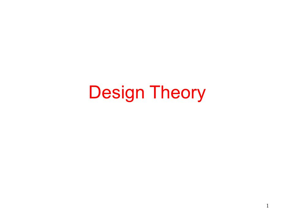 1 Design Theory