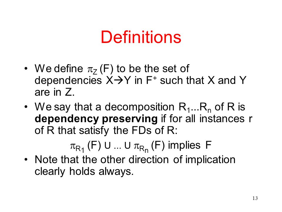 13 Definitions We define  Z (F) to be the set of dependencies X  Y in F + such that X and Y are in Z.
