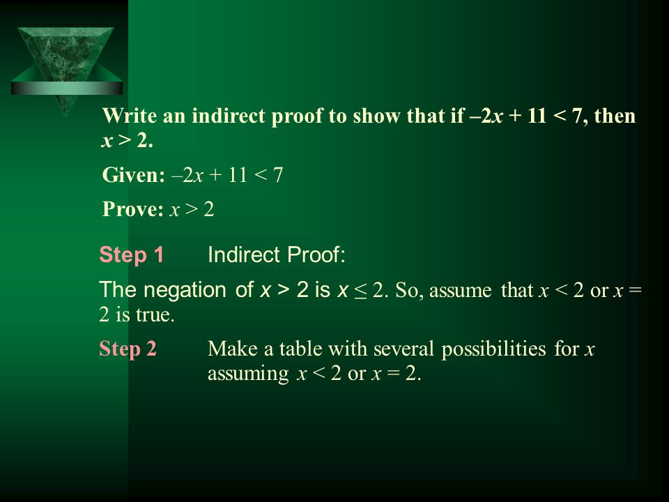 Write an indirect proof to show that if –2x + 11 2. Given: –2x + 11 < 7 Prove: x > 2 Step 1Indirect Proof: The negation of x > 2 is x ≤ 2. So, assume