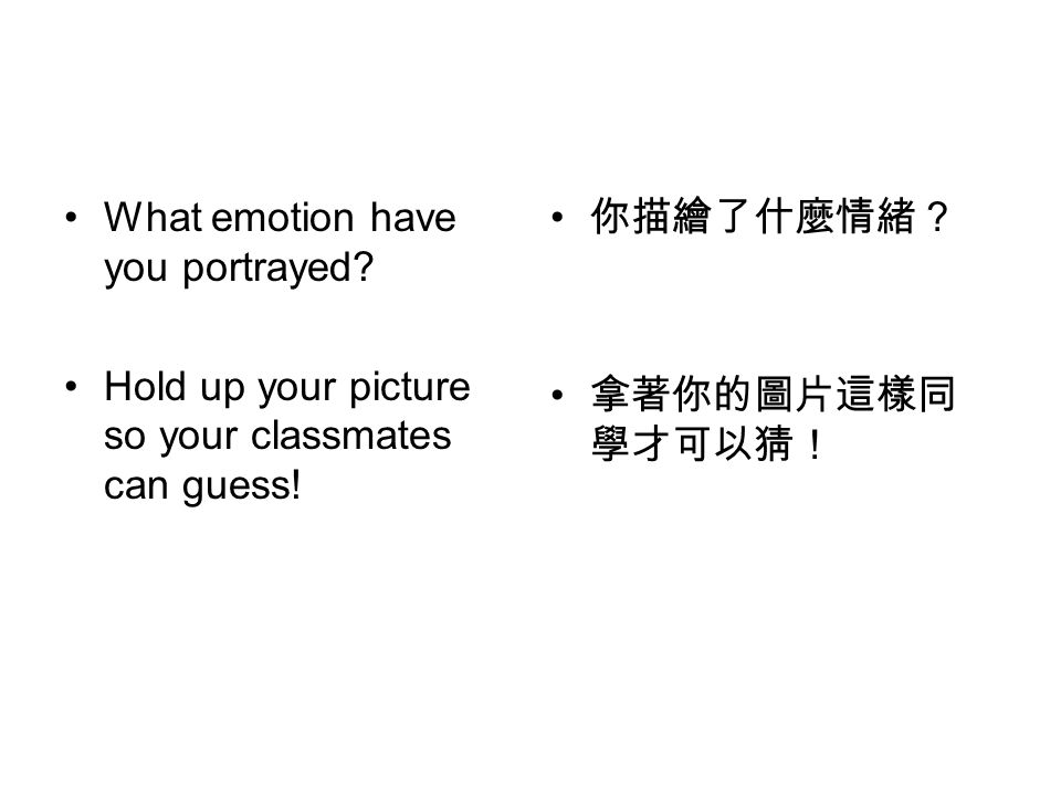 What emotion have you portrayed.Hold up your picture so your classmates can guess.