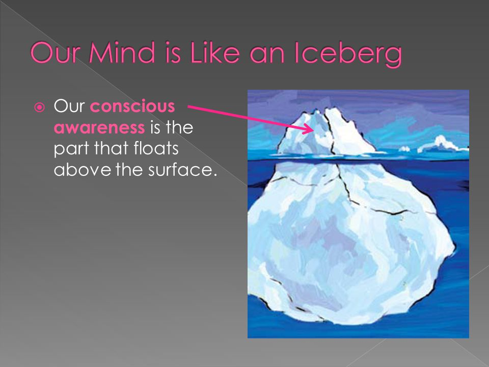  Our conscious awareness is the part that floats above the surface.