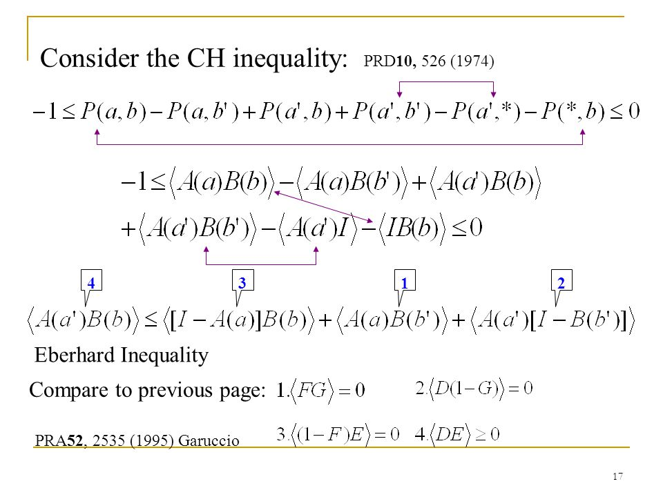 17 12 3 4 Compare to previous page: Consider the CH inequality: PRD10, 526 (1974) PRA52, 2535 (1995) Garuccio Eberhard Inequality