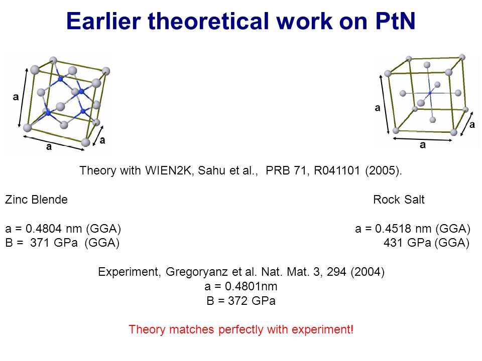 Earlier theoretical work on PtN Theory with WIEN2K, Sahu et al., PRB 71, R041101 (2005).