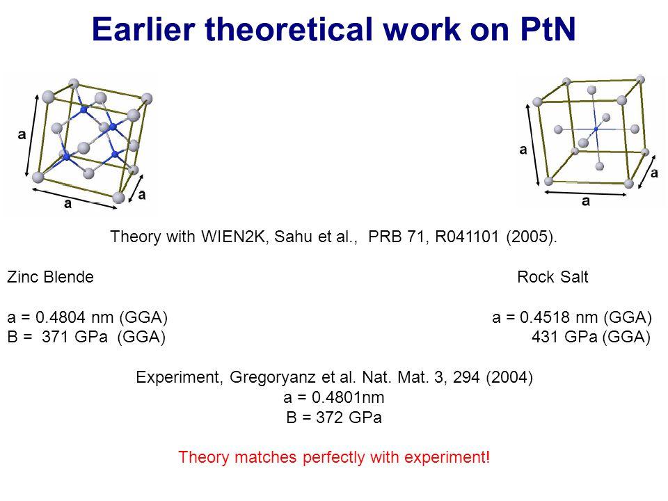 Earlier theoretical work on PtN Theory with WIEN2K, Sahu et al., PRB 71, R041101 (2005). Zinc Blende Rock Salt a = 0.4804 nm (GGA) a = 0.4518 nm (GGA)
