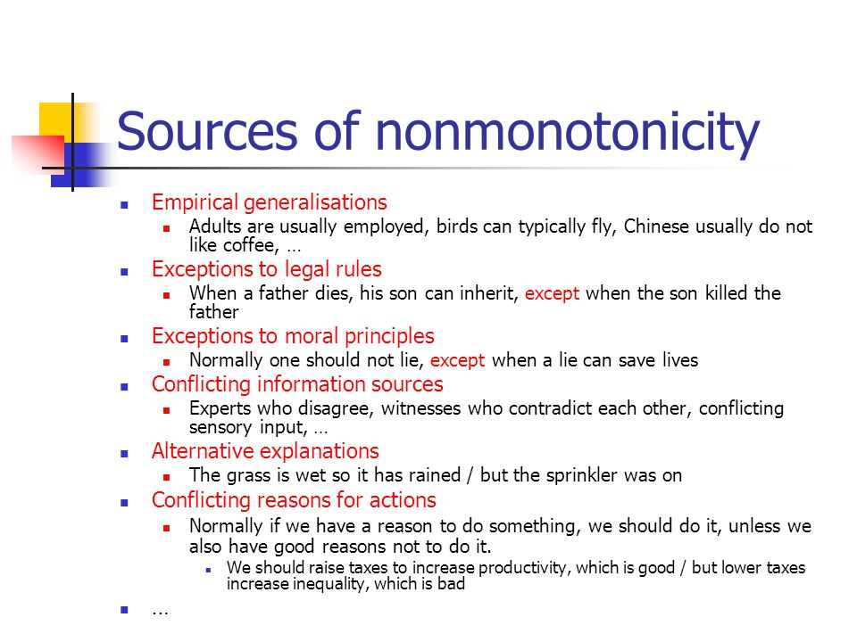 Sources of nonmonotonicity Empirical generalisations Adults are usually employed, birds can typically fly, Chinese usually do not like coffee, … Excep