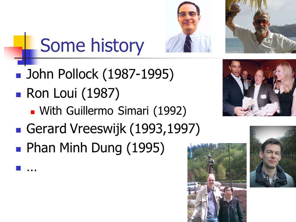 Some history John Pollock (1987-1995) Ron Loui (1987) With Guillermo Simari (1992) Gerard Vreeswijk (1993,1997) Phan Minh Dung (1995) …