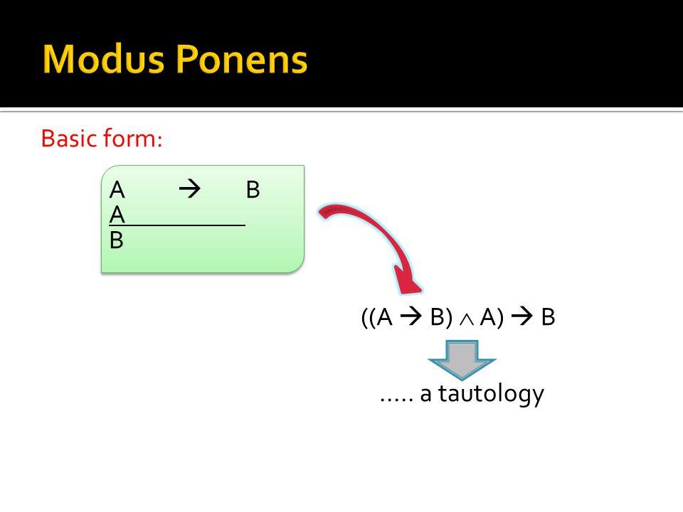 Basic form: ABAB A B ((A  B)  A)  B..... a tautology