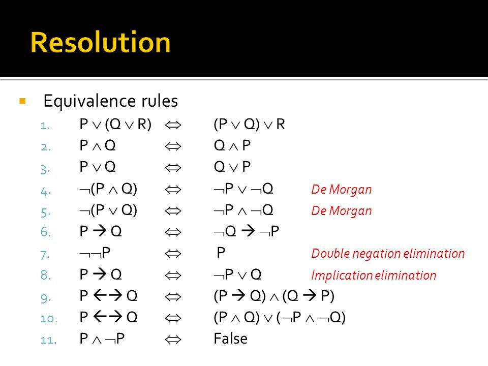  Equivalence rules 1. P  (Q  R)  (P  Q)  R 2.