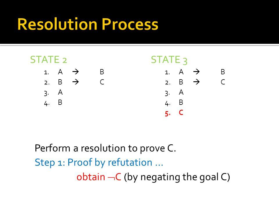 STATE 2 1.A  B 2.B  C 3.A 4.B STATE 3 1.A  B 2.B  C 3.A 4.B 5.C Perform a resolution to prove C.