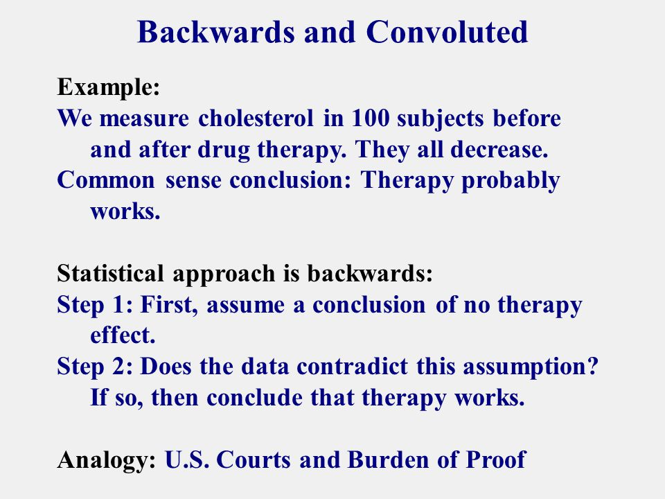 Backwards and Convoluted Example: We measure cholesterol in 100 subjects before and after drug therapy.
