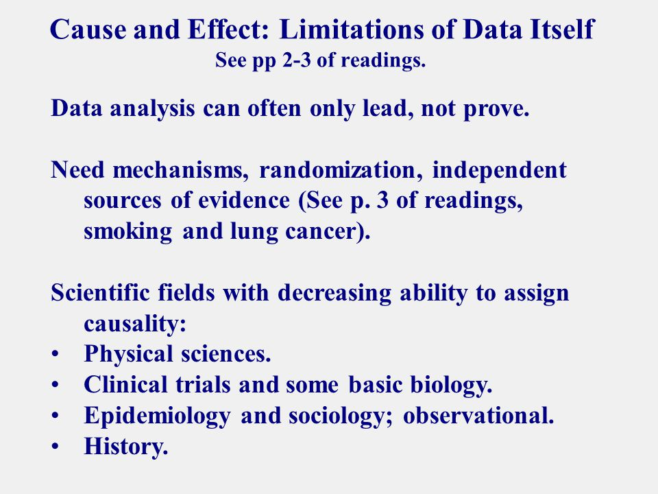 Cause and Effect: Limitations of Data Itself See pp 2-3 of readings.