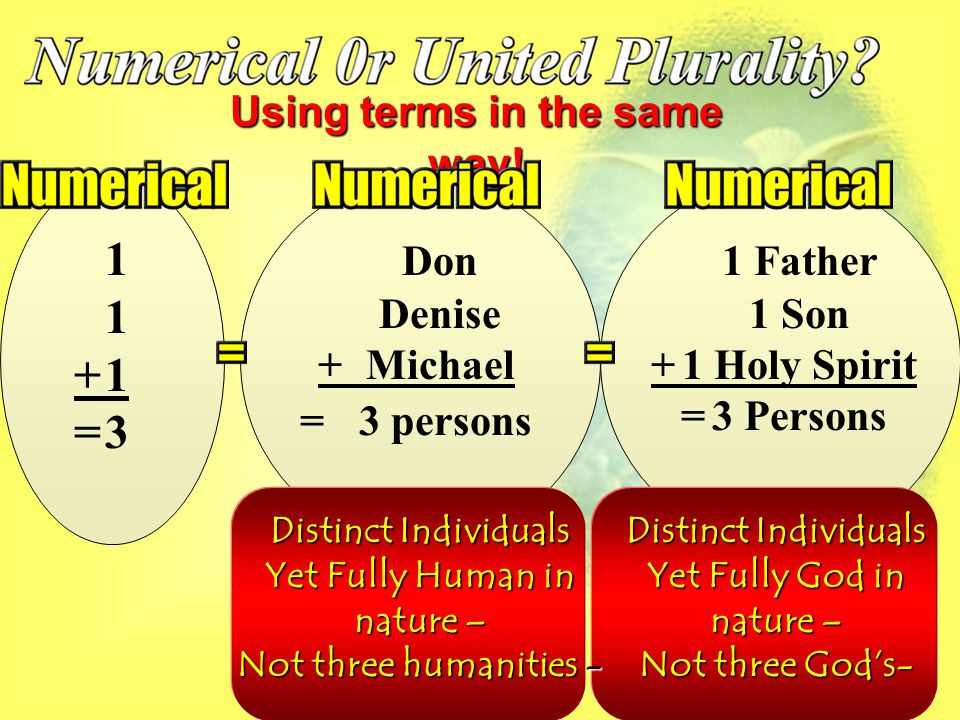 11+1=311+1=3 Don Denise +Michael = 3 persons Using terms in the same way.