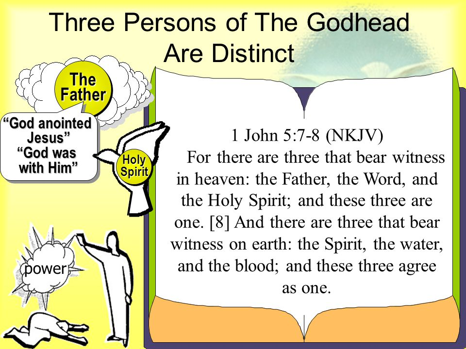 1 John 5:7-8 (NKJV) For there are three that bear witness in heaven: the Father, the Word, and the Holy Spirit; and these three are one.