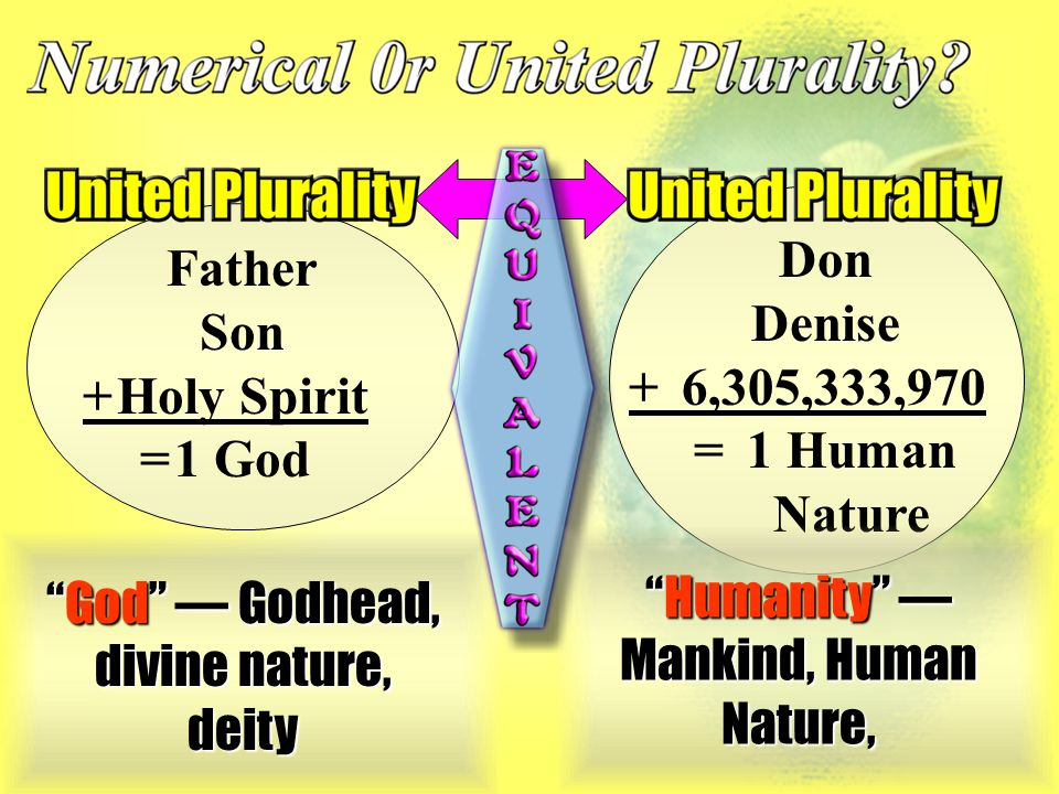 Father Son +Holy Spirit =1 God Don Denise +6,305,333,970 =1 Human Nature God — Godhead, divine nature, deity Humanity — Mankind, Human Nature,