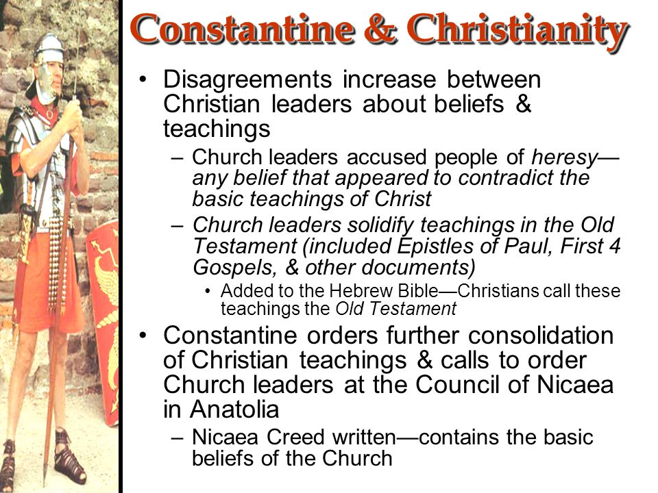 Constantine Accepts Christianity 313 CE—Constantine orders persecution of Jews to cease Edict of Milan—declared Christianity to be one of the religions approved by the Emperor 380 CE—Emperor Theodosius declares Christianity the official religion of Roman Empire