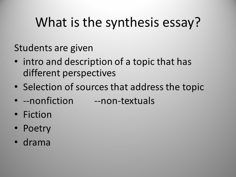 What is the synthesis essay.