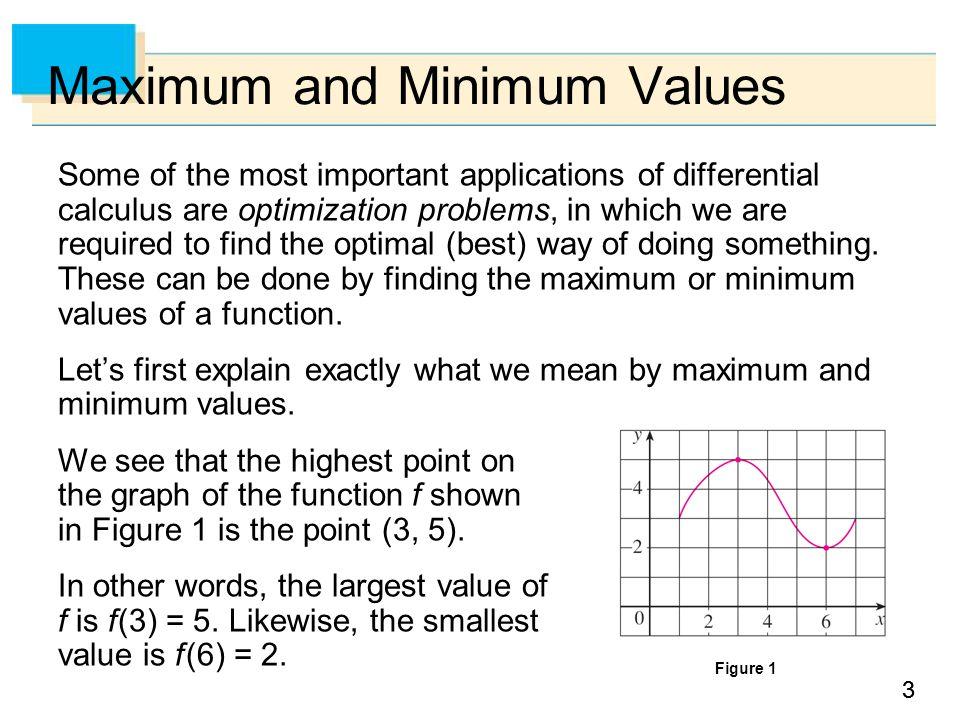 44 Maximum and Minimum Values We say that f (3) = 5 is the absolute maximum of f and f (6) = 2 is the absolute minimum.