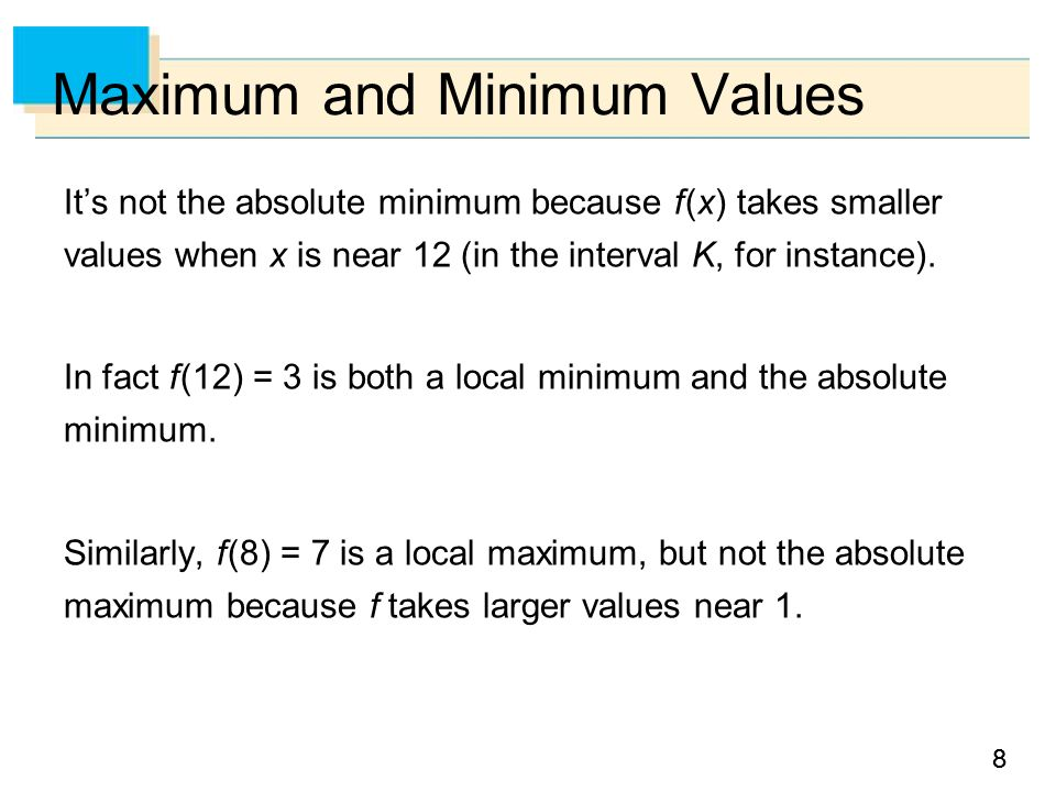 99 Example 1 The function f (x) = cos x takes on its (local and absolute) maximum value of 1 infinitely many times, since cos 2n  = 1 for any integer n and –1  cos x  1 for all x.