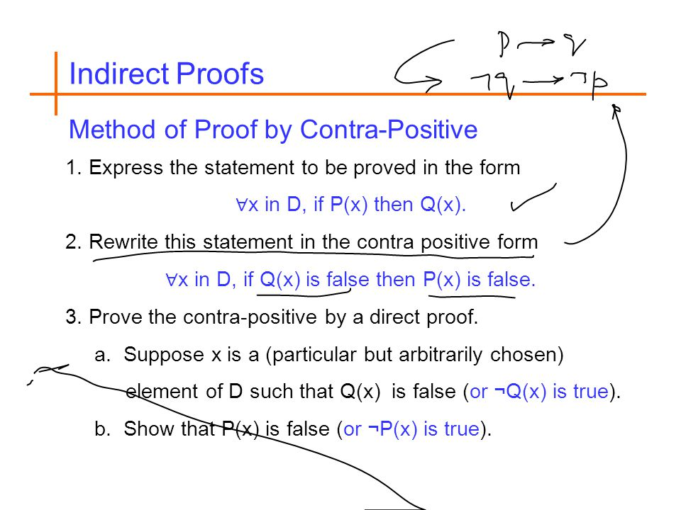 1. Express the statement to be proved in the form ∀ x in D, if P(x) then Q(x).