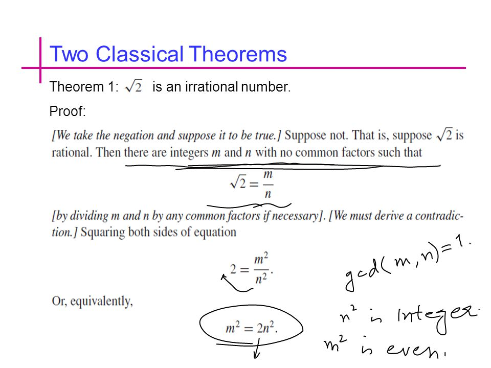 Two Classical Theorems Theorem 1: is an irrational number. Proof: