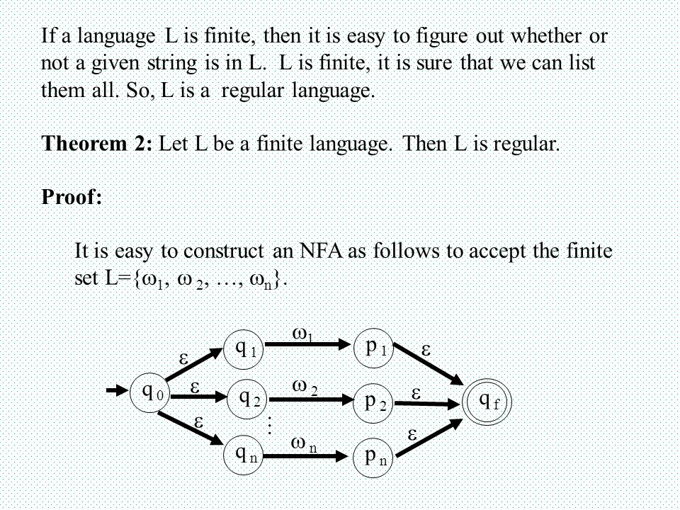 If a language L is finite, then it is easy to figure out whether or not a given string is in L.