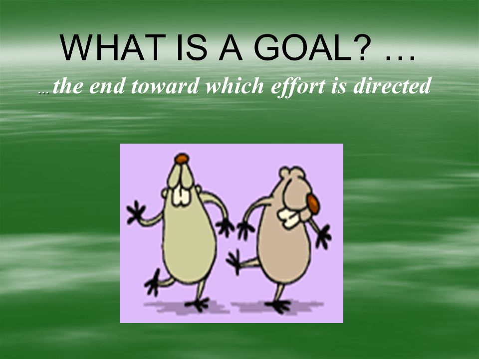 Goal Setting   Make sure the goal you are working for is something you really want, not just something that sounds good.