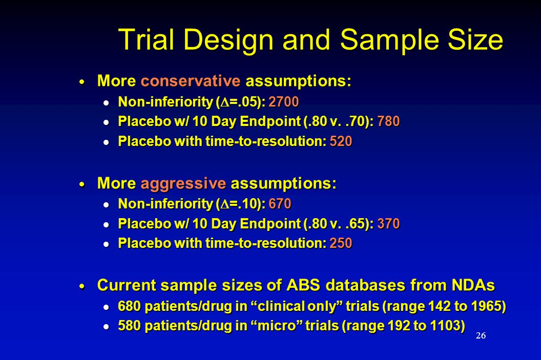 26 Trial Design and Sample Size  More conservative assumptions:  Non-inferiority (  =.05): 2700  Placebo w/ 10 Day Endpoint (.80 v..70): 780  Pla