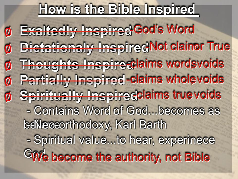- Spiritual value...to hear, experinece God - Spiritual value...to hear, experinece God How is the Bible Inspired Exaltedly Inspired ∅∅ -God's Word -God's Word Dictationaly Inspired ∅∅ -Not claim -Not claim or True or True Thoughts Inspired ∅∅ -claims words -claims words, voids Partially Inspired ∅∅ -claims whole -claims whole, voids Spiritually Inspired ∅∅ - Contains Word of God...becomes as believe - Contains Word of God...becomes as believe -claims true -claims true, voids We become the authority, not Bible - Neo-orthodoxy, Karl Barth - Neo-orthodoxy, Karl Barth