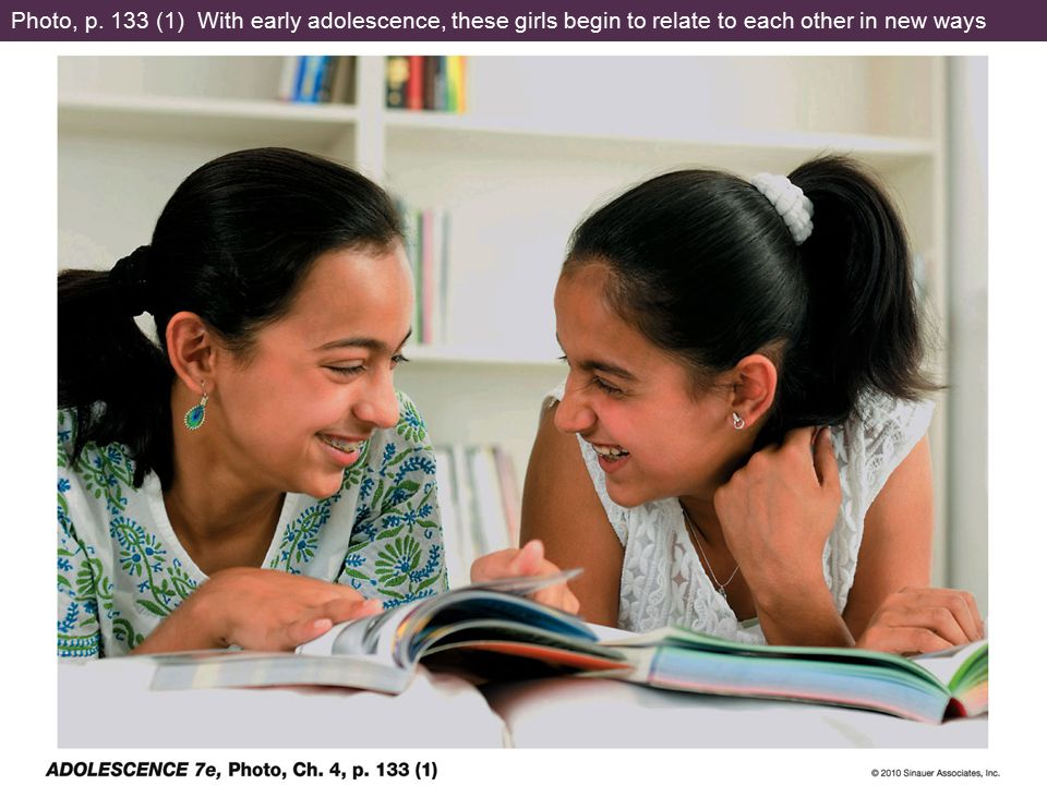 Photo, p. 133 (1) With early adolescence, these girls begin to relate to each other in new ways