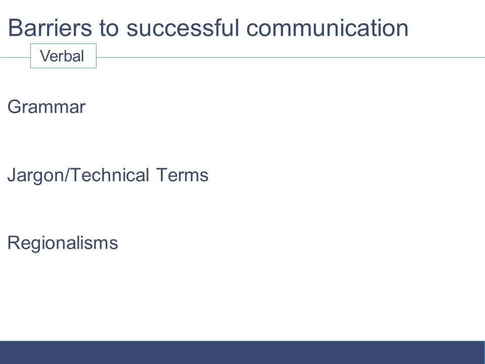 Barriers to successful communication Grammar Jargon/Technical Terms Regionalisms Verbal