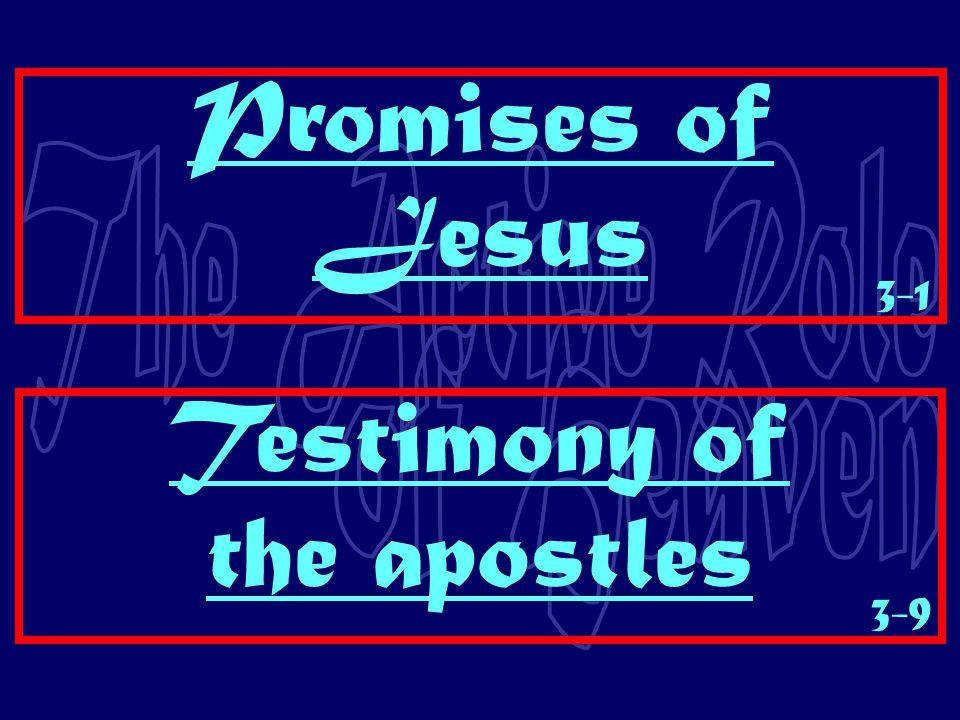 Promises of Jesus Testimony of the apostles 3-1 3-9