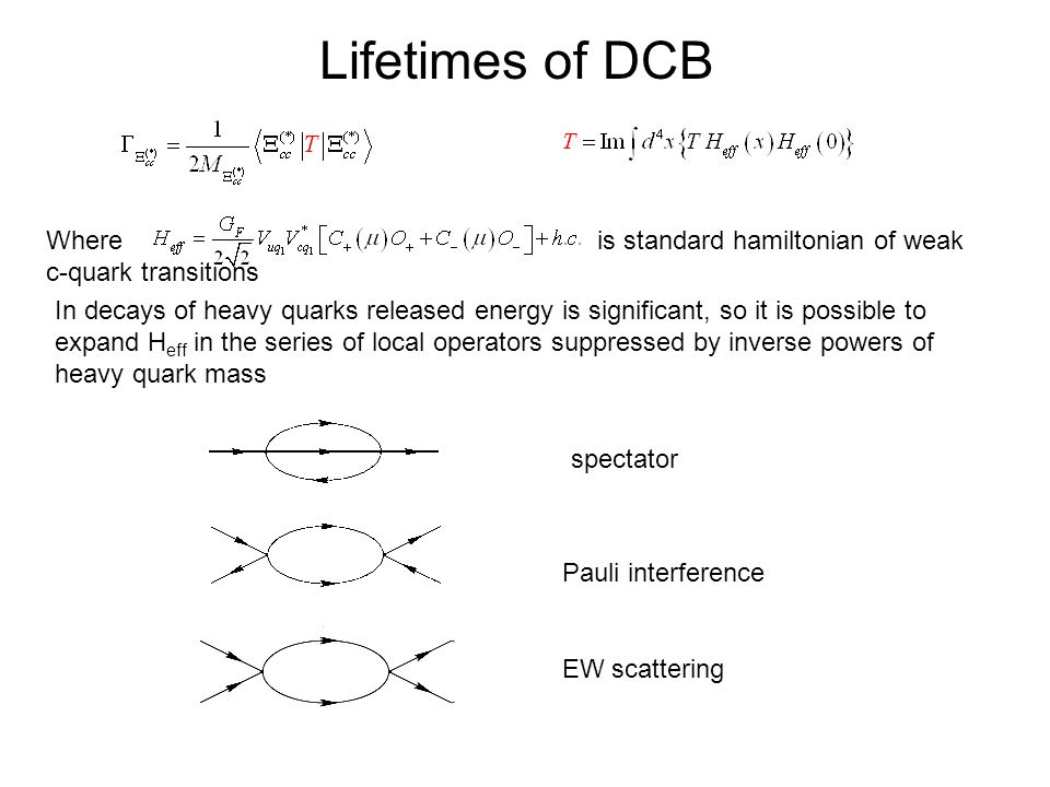 Lifetimes of DCB Where is standard hamiltonian of weak c-quark transitions In decays of heavy quarks released energy is significant, so it is possible to expand H eff in the series of local operators suppressed by inverse powers of heavy quark mass spectator Pauli interference EW scattering