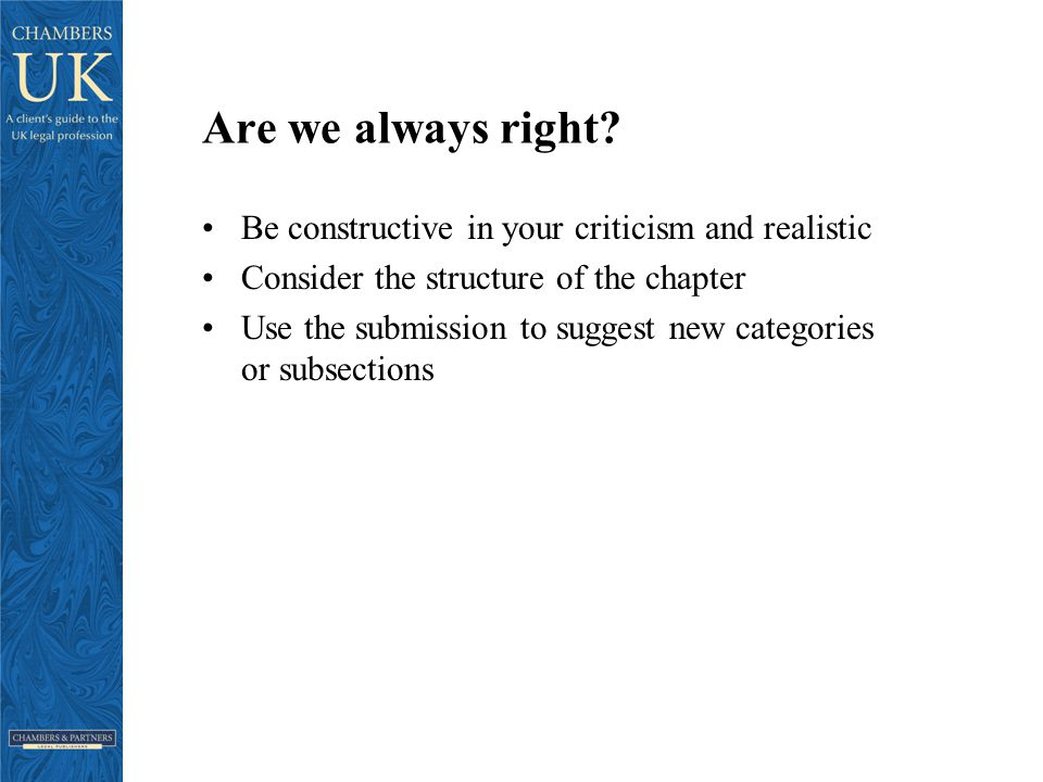 Are we always right.