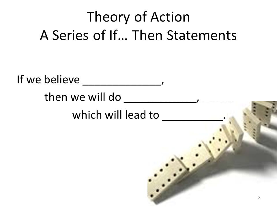 Theory of Action A Series of If… Then Statements If we believe _____________, then we will do ____________, which will lead to __________.