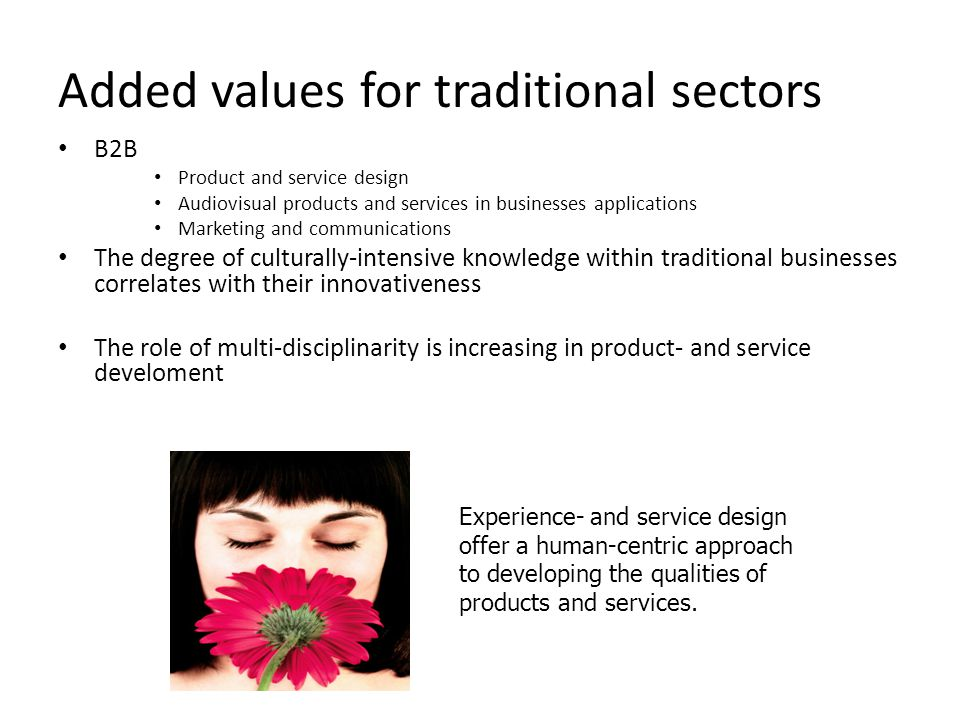 Added values for traditional sectors B2B Product and service design Audiovisual products and services in businesses applications Marketing and communi