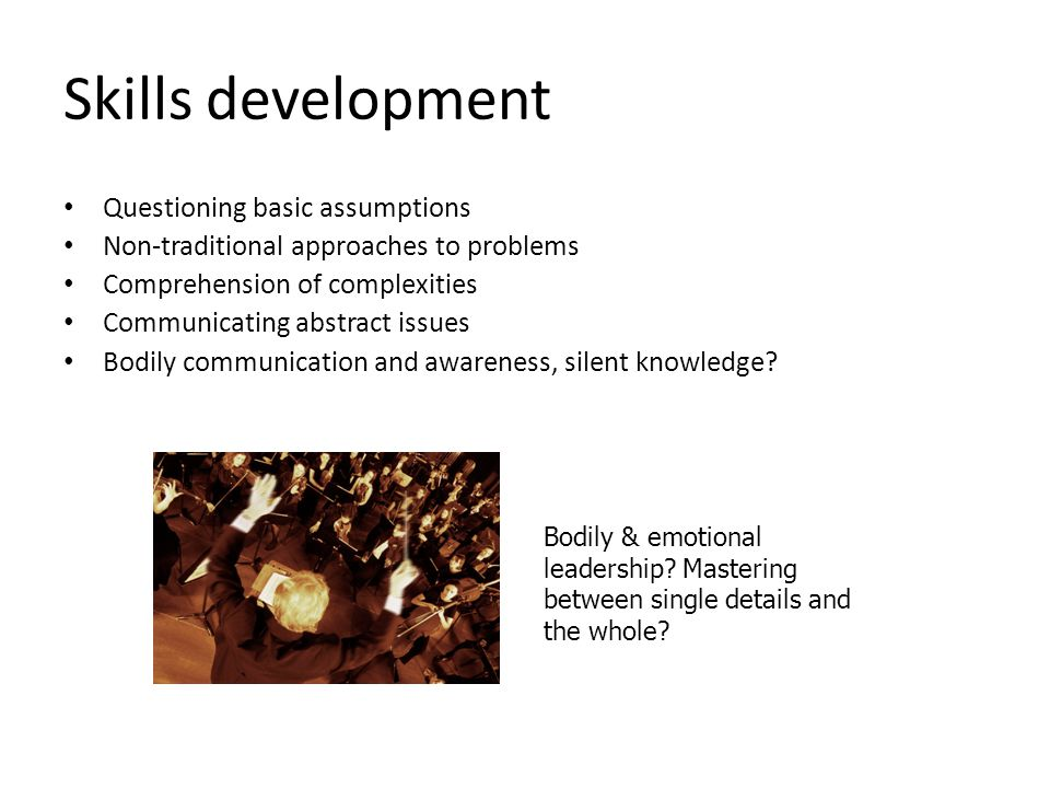 Skills development Questioning basic assumptions Non-traditional approaches to problems Comprehension of complexities Communicating abstract issues Bo