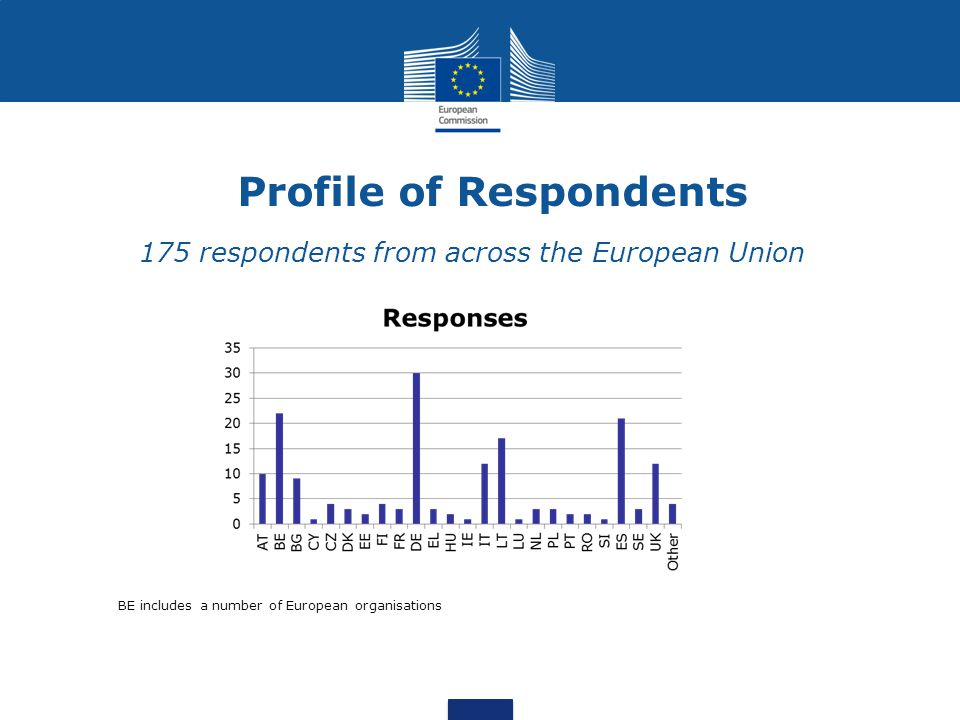 Profile of Respondents 175 respondents from across the European Union BE includes a number of European organisations