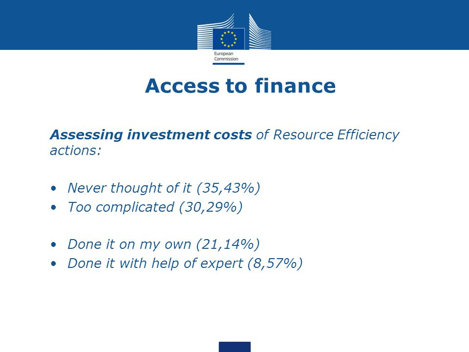 Access to Finance Flash Eurobarometer 2013* – SME responses Impact of Resource Efficiency actions: Decrease in production costs (42%) Increase in production costs (21%) No impact on production costs (25%) Most RE actions are low cost: Over last 2 years, 72% of SMEs have invested less than 5% of annual turn-over in RE Public consultation results confirm these trends * SMEs, resource efficiency and green markets
