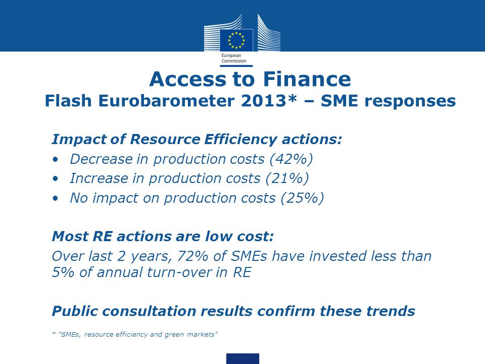 Access to Finance Barriers to finance for Resource Efficiency actions: RE investments take too long to become financially viable (72%) Financial return is not high enough (65,85%) Finance providers lack sufficient understanding of RE investments (78,26% of business organisations) Findings contradict Flash Eurobarometer 2013: 68% satisfied with return on RE investment, 12% very satisfied