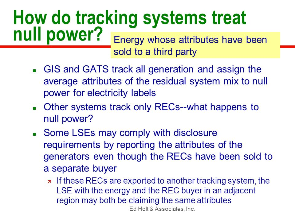Ed Holt & Associates, Inc. How do tracking systems treat null power.