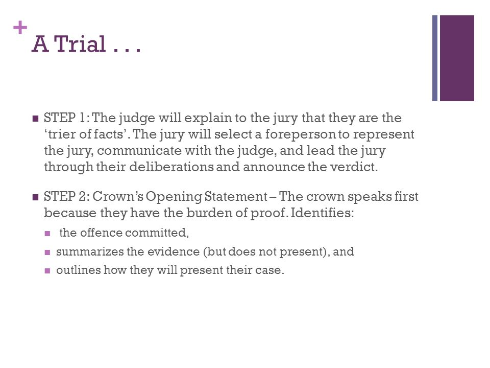 + A Trial...STEP 1: The judge will explain to the jury that they are the 'trier of facts'.