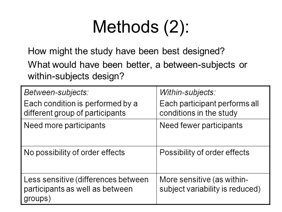Methods (2): How might the study have been best designed.