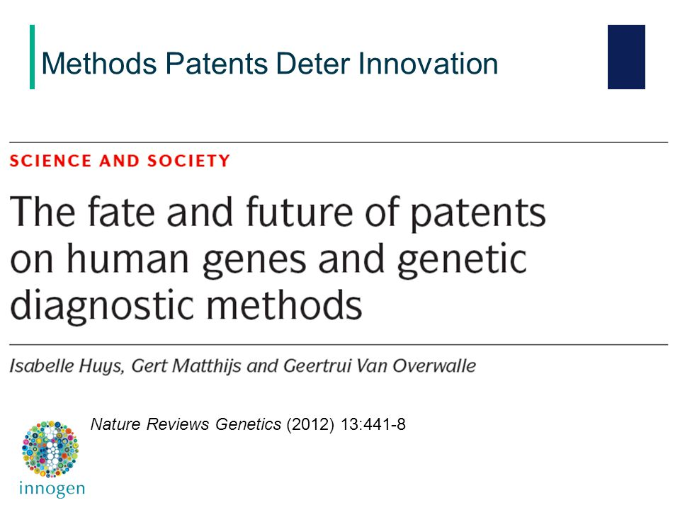 Methods Patents Deter Innovation Nature Reviews Genetics (2012) 13:441-8